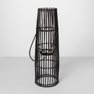 24  x 7.7  Iron And Rattan Pillar Candle Holder Lantern Black - Project 62™