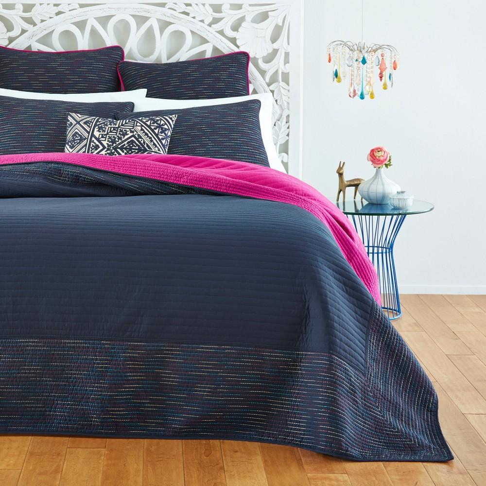 Best Price FullQueen Suri Kantha Quilt Set Navy Azalea Skye Blue