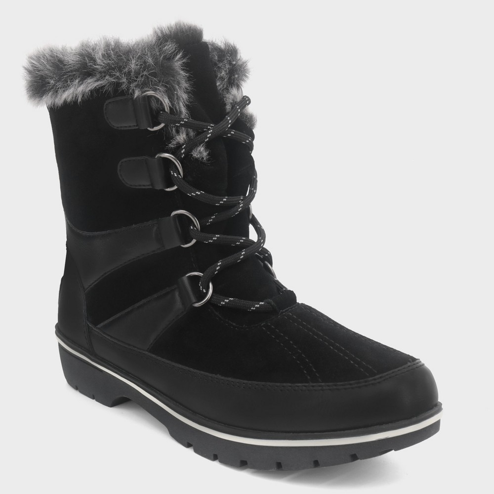 Women's Ellysia Wide Width Short Functional Winter Boots - C9 Champion Black 9W, Size: 9 Wide