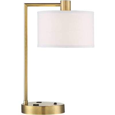 360 Lighting Modern Desk Table Lamp with USB and AC Power Outlet in Base Antique Brass Linen Drum Shade Living Room Bedroom Office