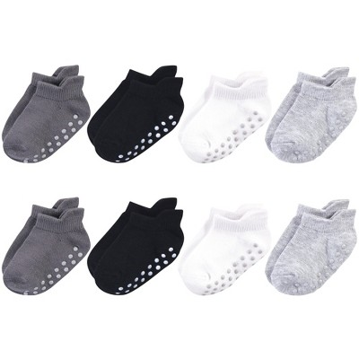 Touched by Nature Baby and Toddler Boy Organic Cotton Socks with Non-Skid Gripper for Fall Resistance, Solid Black Gray