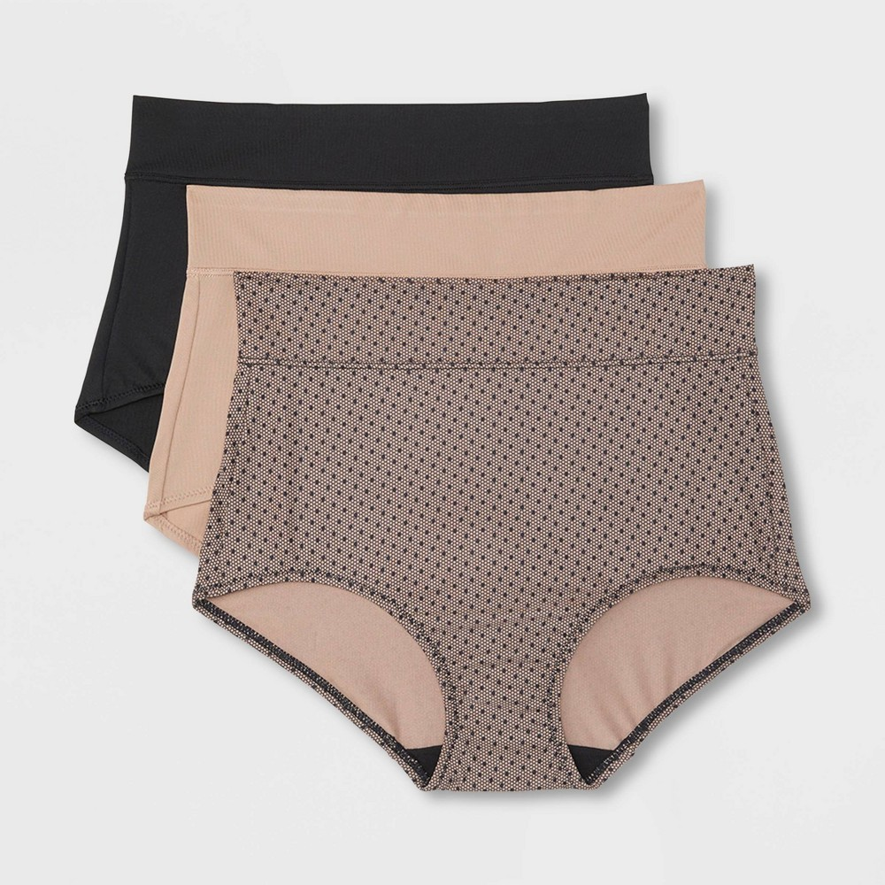 Simply Perfect by Warner's Women's 3pk No Muffin Top Micro Briefs - Lace Dot Print / Toasted Almond / Black S