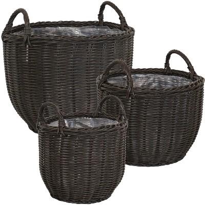 "Sunnydaze Round Polyrattan Indoor Basket Planters with Handles and Attached Liner - 12.75"", 15.75"" and 18.25"" Diameter - Dark Brown - 3-Piece Set"