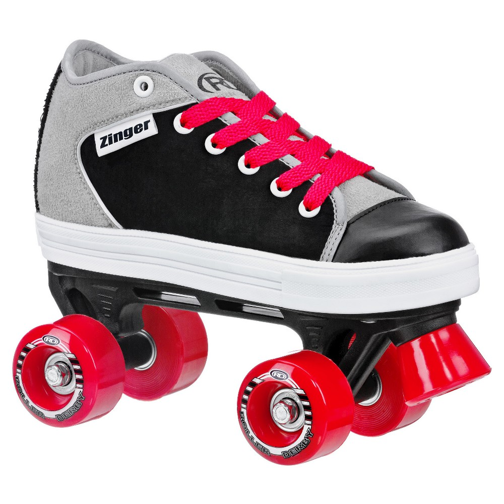 Roller Derby Kids' Zinger Quad Skate - Black & Gray - (3), Black Gray Red