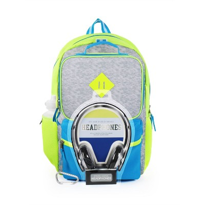 "L2D 16"" Backpack with Lunch Bag and Headphones - Neon Blue on Gray"