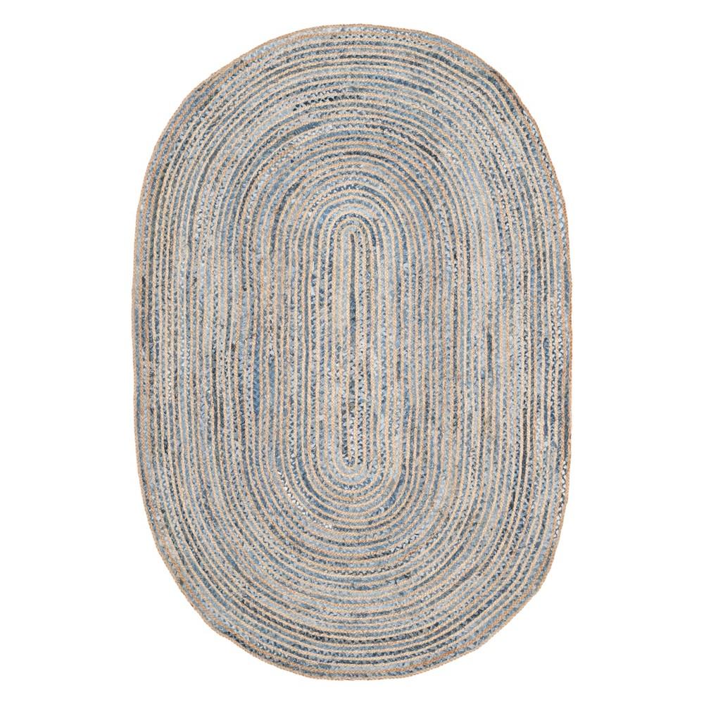 6x9 Stripe Area Rug Naturalblue Safavieh