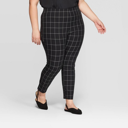 Women's Plus Size Plaid Skinny Ankle Pants - A New Day™ Black/White - image 1 of 3