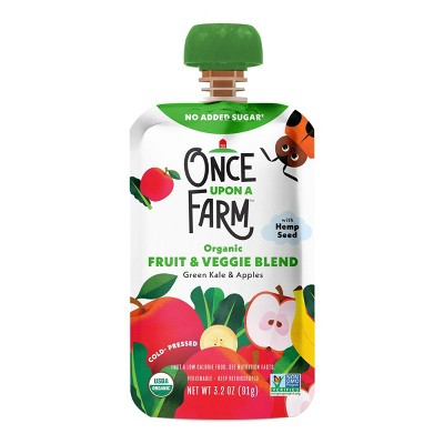 Once Upon a Farm Organic Green Kale & Apples Fruit & Veggie Blend - 3.2oz