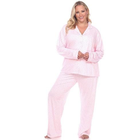 Women's Plus Size Long Sleeve Pajama Set - White Mark - image 1 of 3