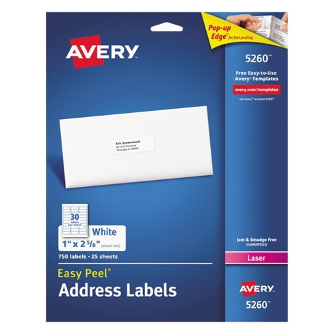 avery 1 x 2 5 8 easy peel laser address labels white 750 pk
