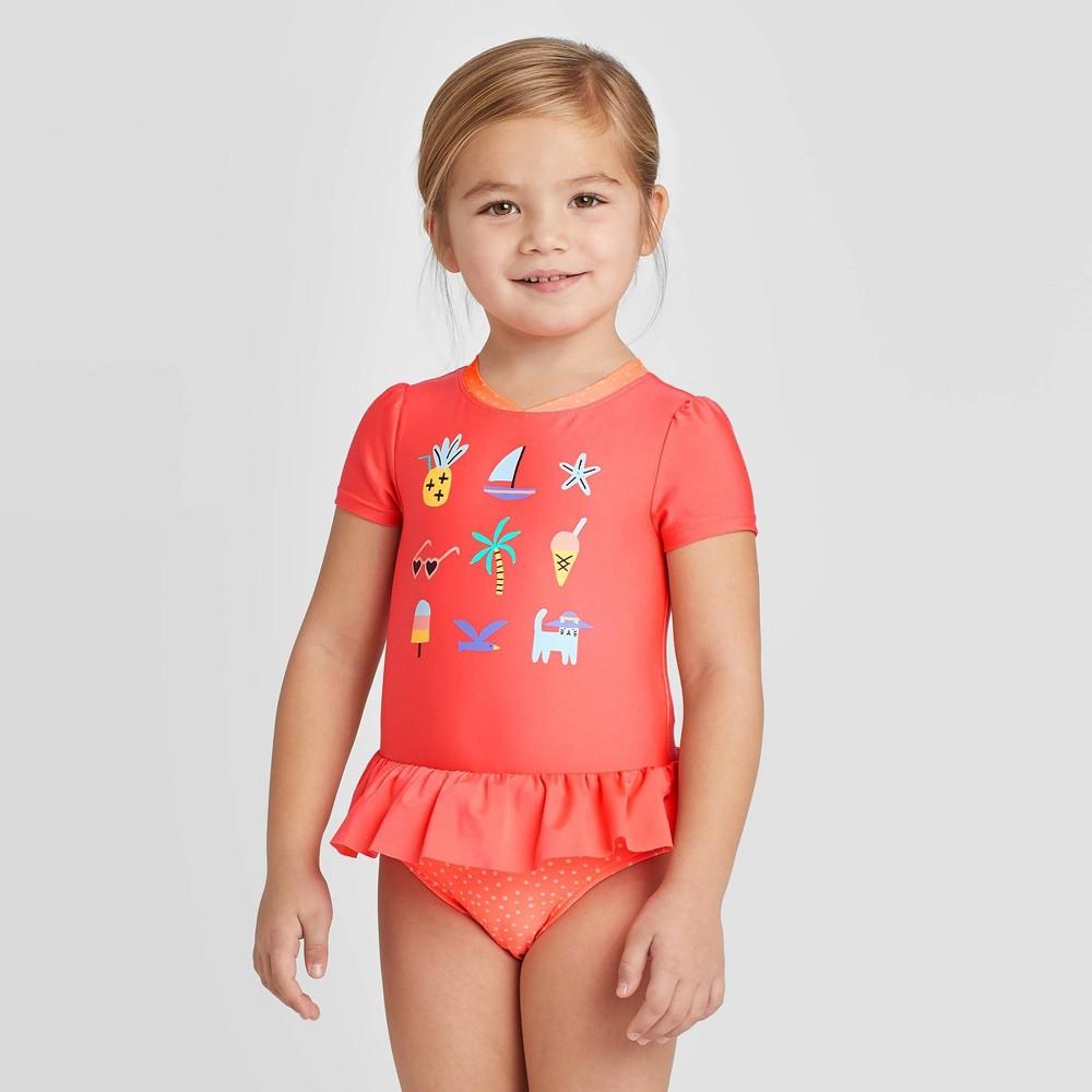 Image of petiteToddler Girls' Icon Story Short Sleeve One Piece Rash Guards - Cat & Jack Hawaiian Coral 12M, Girl's, Orange
