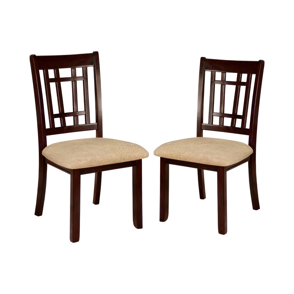 Set of 2 Grantwood Gridded Ladder Back Side Chair Dark Cherry - ioHOMES