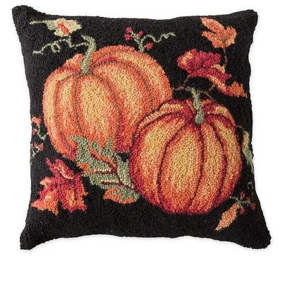 Hand-Hooked Wool Fall Pumpkins Throw Pillow