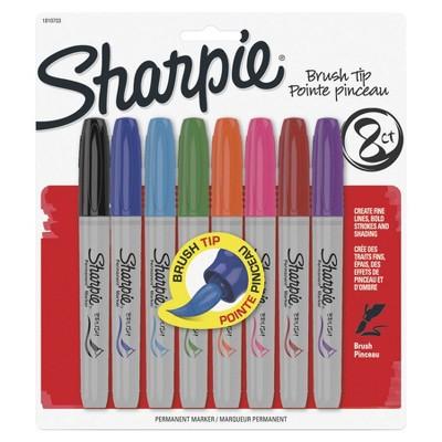 Sharpie Permanent Marker, Brush Tip, Assorted Color, set of 8