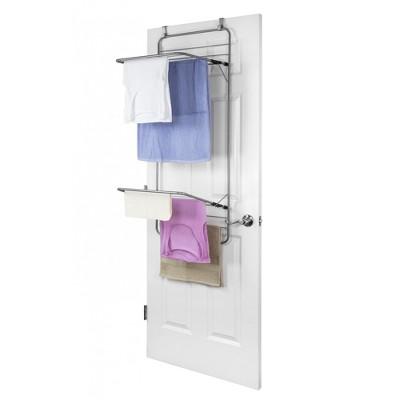 Home Basics Steel Over the Door Towel Dryer Rack, Grey