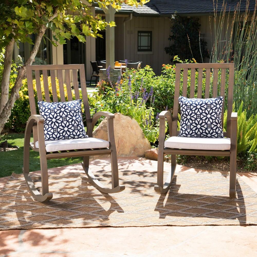 Cayo 2pk Acacia Wood Rocking Chair - Gray - Christopher Knight Home