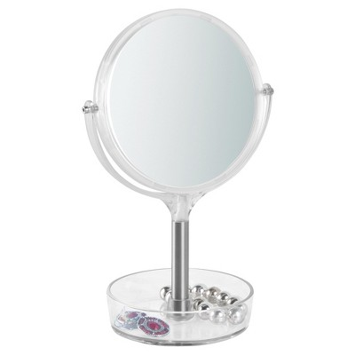 Free Standing Swivel Bathroom Vanity Mirror 1X/3X with Tray Brushed/Clear - iDESIGN