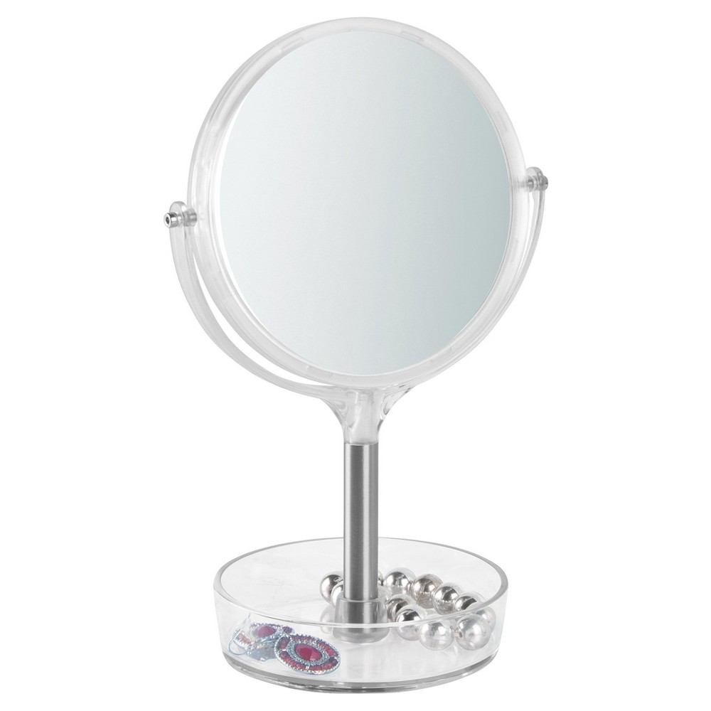Free Standing Swivel Bathroom Vanity Mirror 1X/3X with Tray Brushed/Clear - iDESIGN, Matte Silver