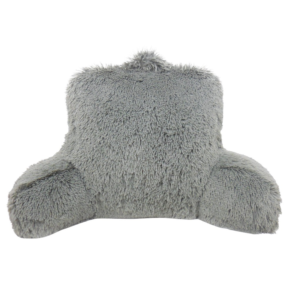 Image of Charcoal Heather Warmly Shaggy Faux Fur Bed Rest Lounger Support Pillow - Elements By Arlee, Gray