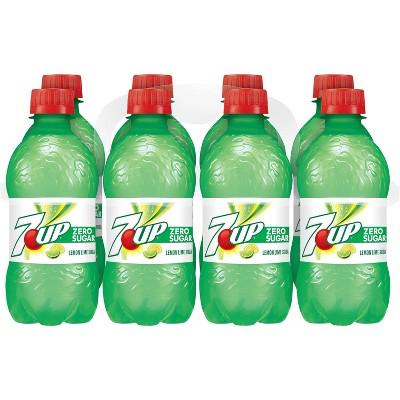 7UP Zero Sugar Lemon Lime Soda, 12 fl oz bottles, 8 pack