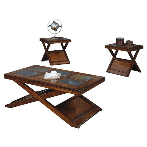 Benicia 3 Piece Pack Coffee End Table Set Dark Oak and Slate - ACME - image 1 of 2
