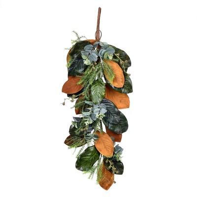 """Vickerman 34"""" Artificial Green Magnolia Leaf Swag."""