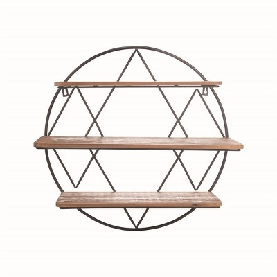 Round 20.25 inch Diameter Three Tier Wood and Metal Hanging Wall Shelf - Foreside Home & Garden