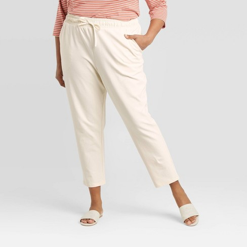 Women's Plus Size Twill Knit Jogger Pants - A New Day™ Cream 2X - image 1 of 3