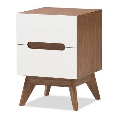 Calypso Mid - Century Modern Wood 3 - Drawer Storage Nightstand - Brown - Baxton Studio