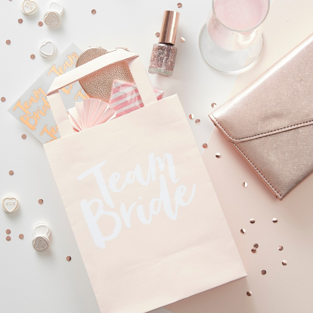 Image of 5ct Team Bride Party Bags Rose Gold, White Pink