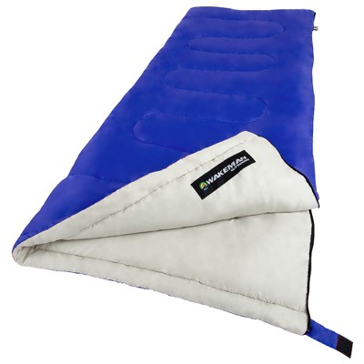 Wakeman 2-Season Sleeping Bag With Carrying Bag For Adults Up To 5'11  - Blue