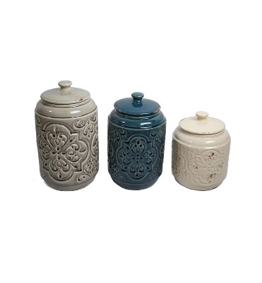 Country Quilted Design Canister Set of 3 Cream/Blue/Gray 56oz/72oz/102oz - Drew DeRose