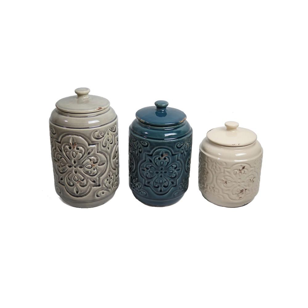 Country Quilted Design Canister Set of 3 Cream/Blue/Gray 56oz/72oz/102oz - Drew DeRose, Ivory/Blue/Tan
