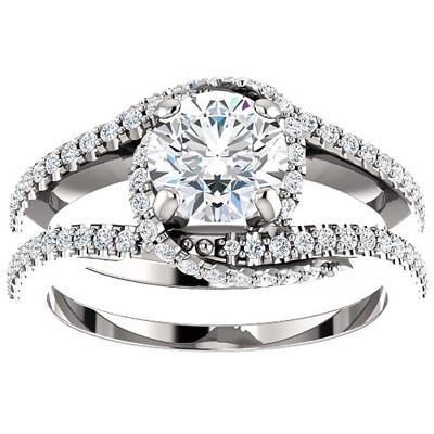 Pompeii3 1 1/2 Ct TDW Diamond Twist Engagement Ring Multi Row 14k White Gold
