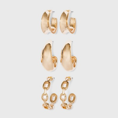 Gold with Chunky Hoops and Frozen Chain Trio Huggie Hoop Earrings - Wild Fable™ Gold