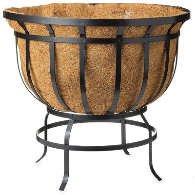 Plow & Hearth - Footed Steel Round Basket Planter with Natural Coir Liner