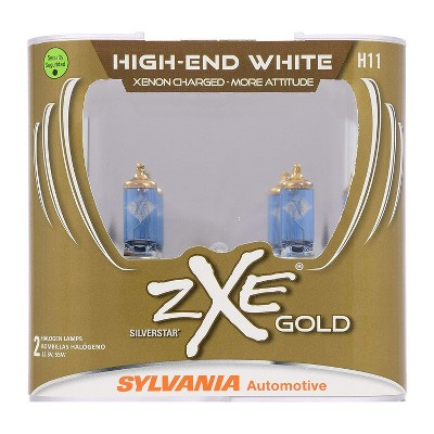 Sylvania H11SZG.PB2 High Performance SilverStar zXe GOLD H11 Halogen Fog Light Bulb HID Attitude and Xenon Fueled, White (2 Pack)
