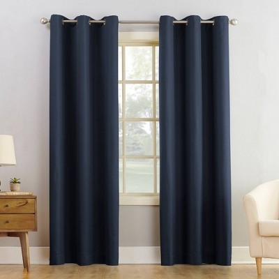 """84""""x48"""" Montego Casual Textured Grommet Top Light Filtering Curtain Panel Navy - No. 918"""