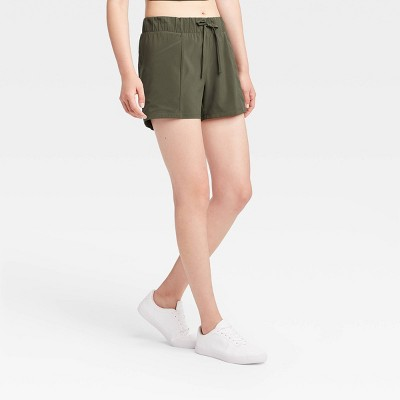 "Women's Stretch Woven Shorts 4"" - All in Motion™ Olive Green M"