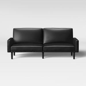 Faux Leather Futon Sofa With Arms Black