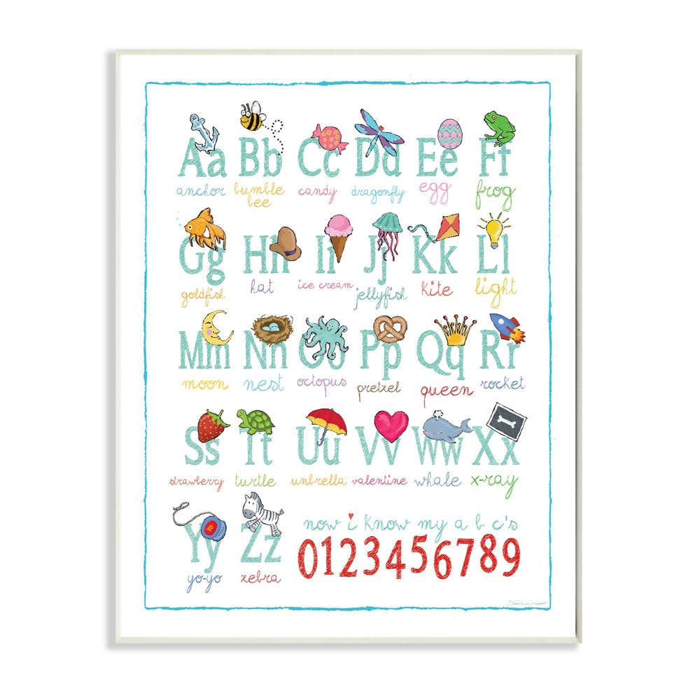 "Image of ""Abcs 123S Song and Icons Wall Plaque Art (10""""x15""""x0.5"""") - Stupell Industries"""