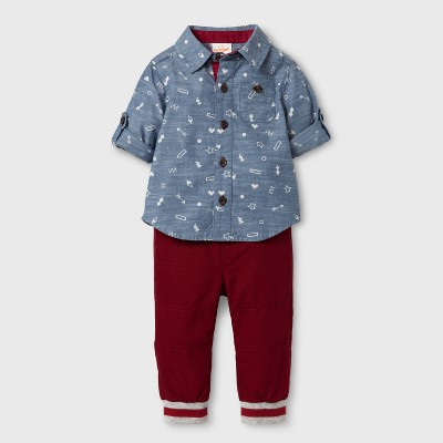Baby Boys' Button-Down Shirt and Denim Pants Set - Cat & Jack™ Blue/Maroon 12 Months