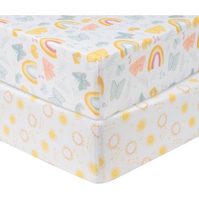 Sammy & Lou Butterflies and Sunshine Microfiber Crib Sheet - 2pk
