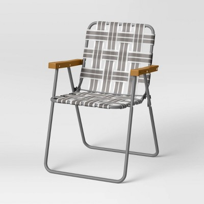 Folding Patio Webstrap Chair - Gray - Room Essentials™
