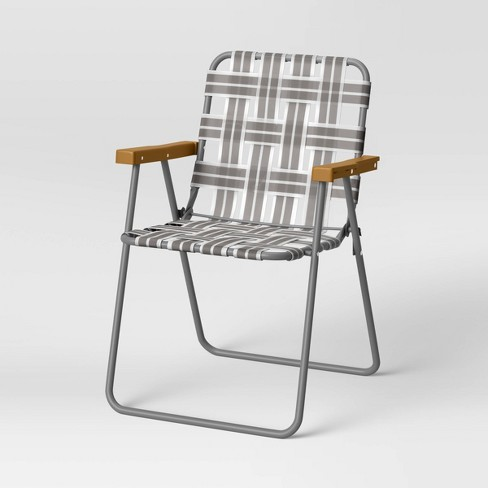 Folding Patio Webstrap Chair Gray, Outdoor Chairs Target