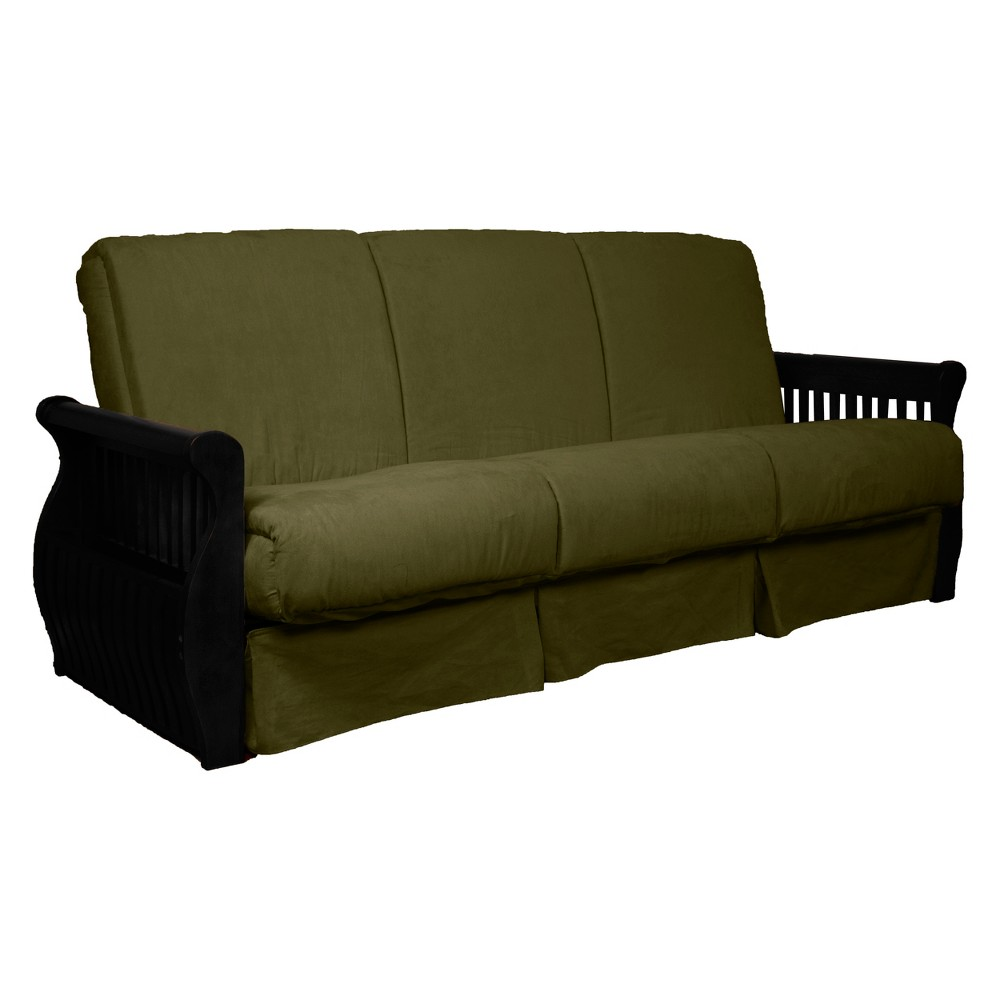 Storage Arm Perfect Futon Sofa Sleeper - Black Wood Finish - Epic Furnishings, Olive Green