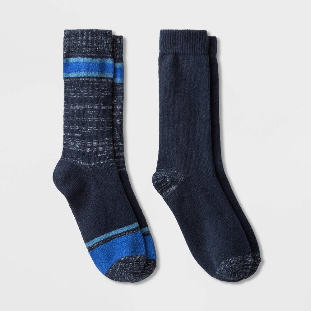 Image of Men's Striped Boot Socks 2pk - Goodfellow & Co Blue 7-12, Men's, Size: Small