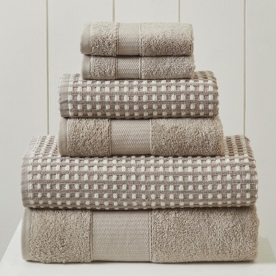 Modern Threads 6 Piece Yarn Dyed Jacquard Towel Set, Cobblestone.