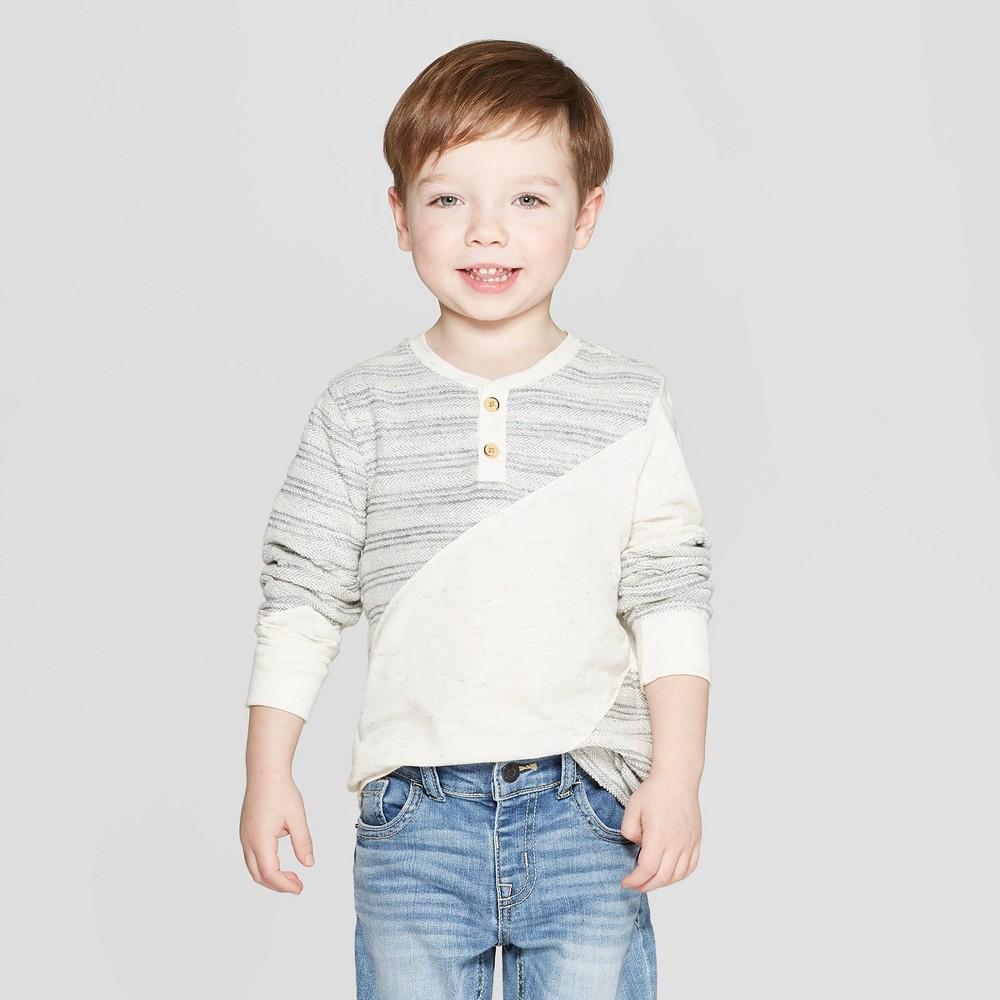 a738c5fd3 Genuine Kids from Oshkosh Toddler Boys Long Sleeve Texture Block Henley T  Shirt Cream 3T Beige