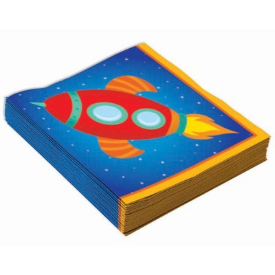 Birthday Express Space Party Rocket Space Beverage Napkins - 16 pack